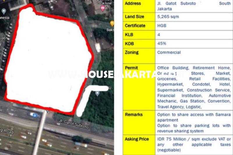 Tanah Komersial Jalan Gatot Subroto Dijual Murah 75 juta/m bisa Gedung 21 Lantai