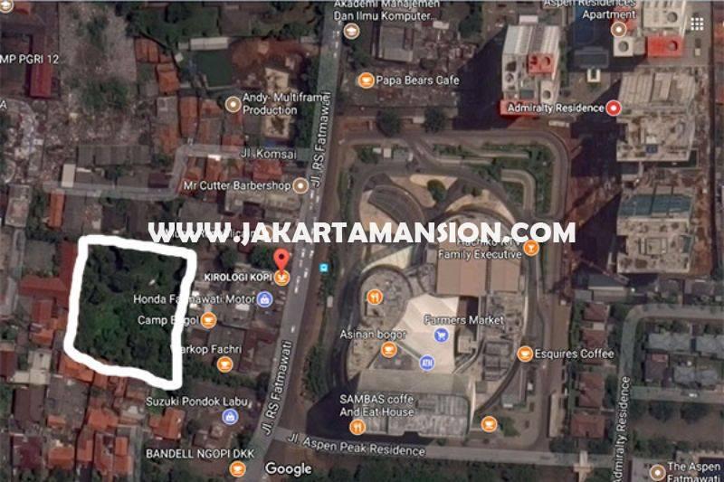 Tanah Jalan Fatmawati Pondok Labu 1 luas 5.389m dijual murah 18juta/m depan Mall One Bel Park